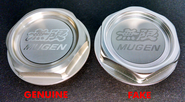 1 Mugen Gen 1 Oil Filler Cap Genuine versus Fake