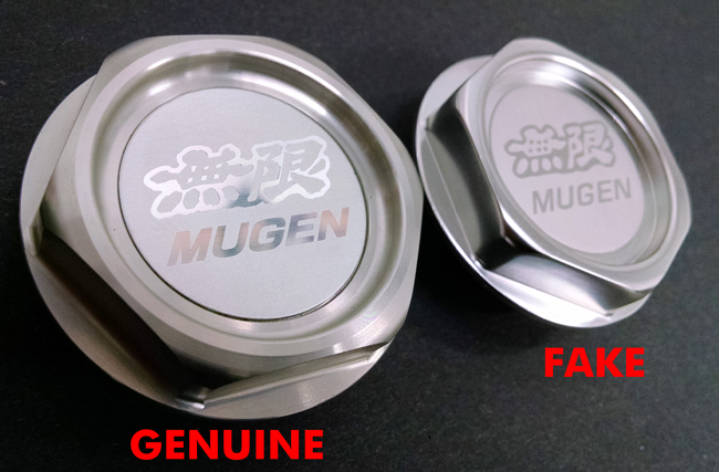 2 Mugen Gen 1 Oil Filler Cap Genuine versus Fake