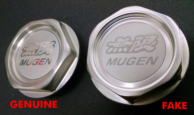 3 Mugen Gen 1 Oil Filler Cap Genuine versus Fake