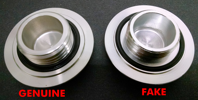 4 Mugen Gen 1 Oil Filler Cap Genuine versus Fake