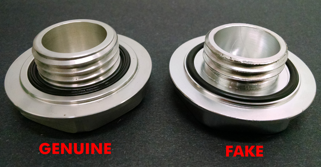 5 Mugen Gen 1 Oil Filler Cap Genuine versus Fake