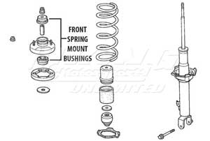 Mugen Front End Hard Bushings - Spring Mounting Set - 4 Piece Set