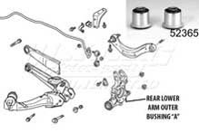 "Mugen Rear End Hard Bushings - Rear Lower Arm Outer Set ""A"" - 2 Piece Set"